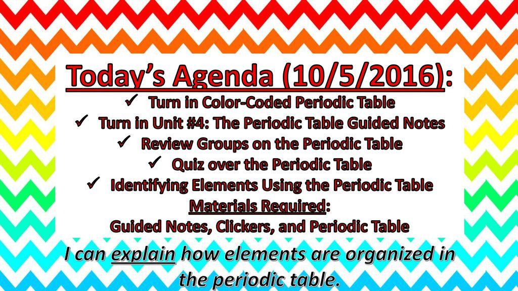 Todays agenda 9302016 notes over the periodic table ppt download todays agenda 1052016 turn in color coded periodic urtaz Images