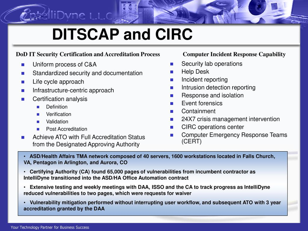 Intellidyne corporate capabilities experience ppt download ditscap and circ dod it security certification and accreditation process computer incident response capability 1betcityfo Image collections