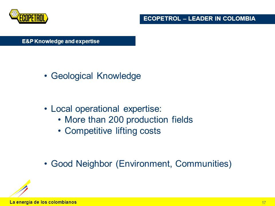 E&P Knowledge and expertise