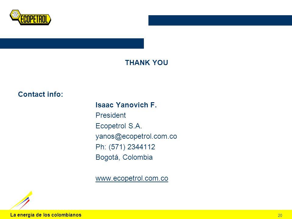 THANK YOU Contact info: Isaac Yanovich F. President. Ecopetrol S.A. yanos@ecopetrol.com.co. Ph: (571) 2344112.