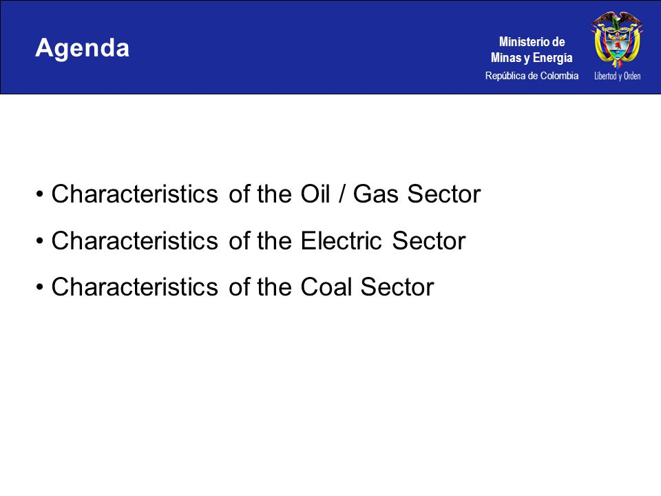 Agenda Characteristics of the Oil / Gas Sector. Characteristics of the Electric Sector.