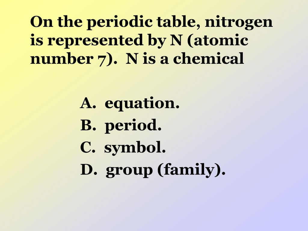 Crct prep ppt download on the periodic table nitrogen is represented by n atomic number 7 urtaz Choice Image