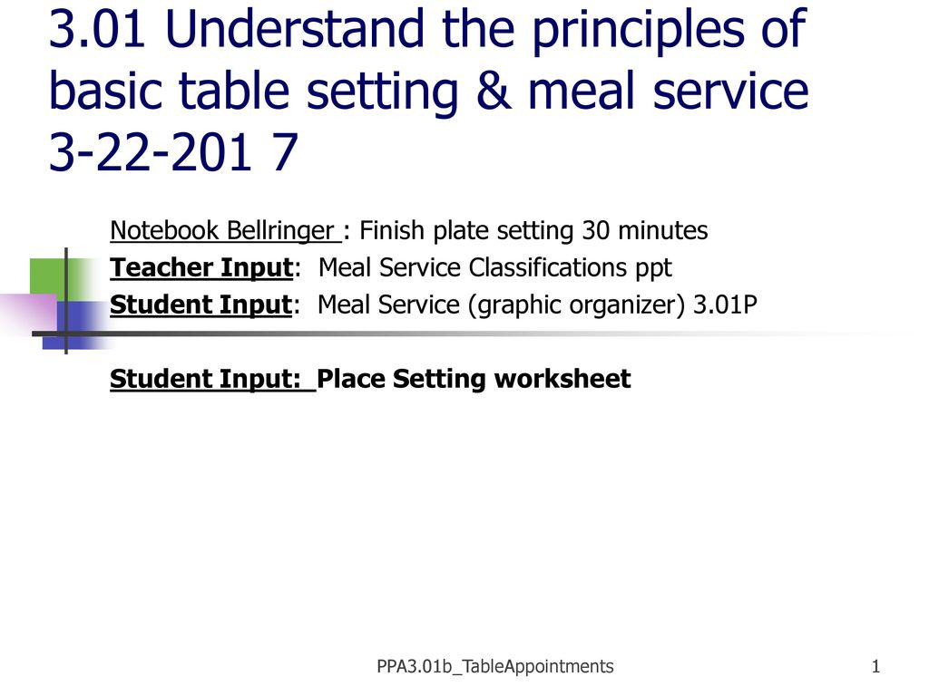 PPA3.01b_TableAppointments - ppt download
