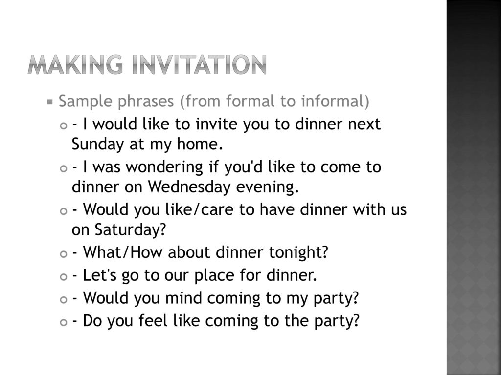 Accepting refusing invitation ppt download making invitation sample phrases from formal to informal stopboris Choice Image