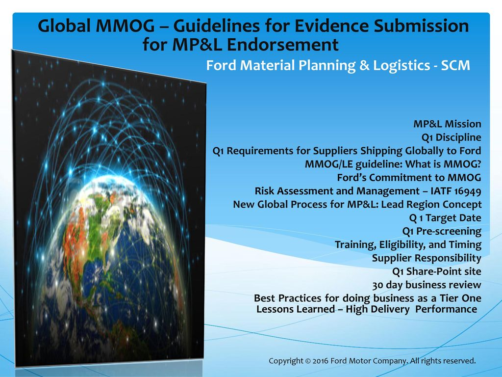 Ford material planning logistic supply chain management for Ford motor company mission statement