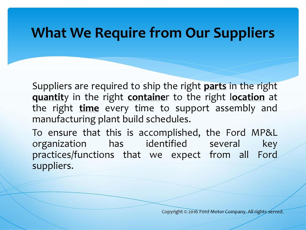 ford supplier network