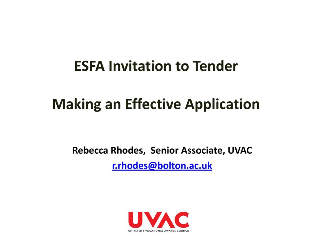 Esfa invitation to tender making an effective application ppt esfa invitation to tender making an effective application stopboris Choice Image