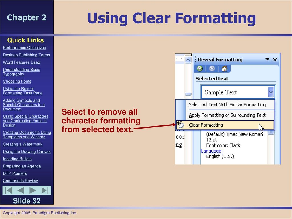 Chapter 2 preparing internal documents ppt download 32 using clear formatting select to remove all character biocorpaavc Image collections