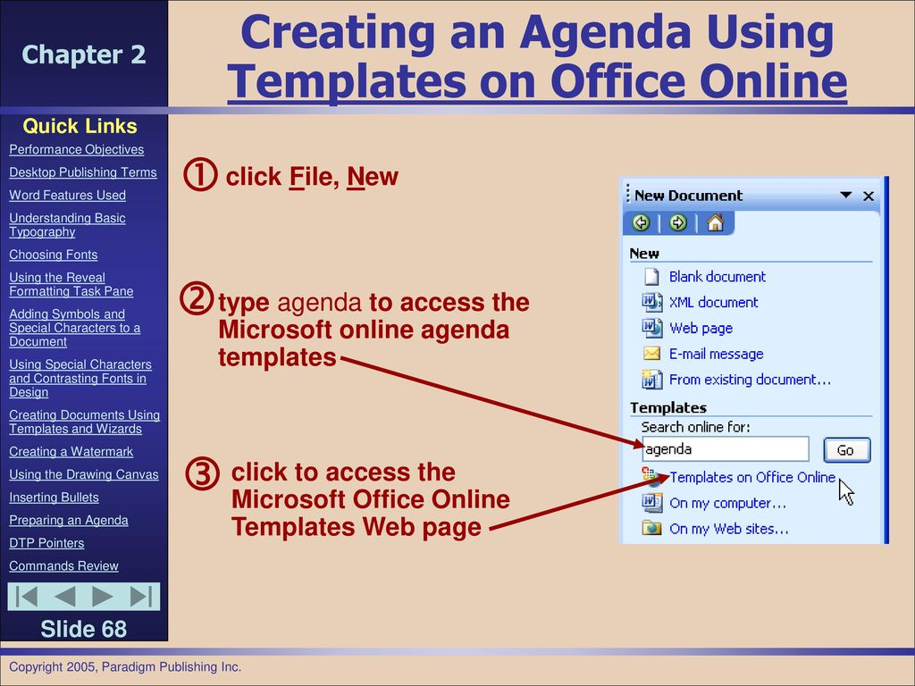Chapter 2 preparing internal documents ppt download creating an agenda using templates on office online biocorpaavc Gallery