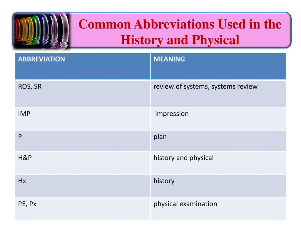 Health care terms and language health care records ppt download common abbreviations used in the history and physical biocorpaavc