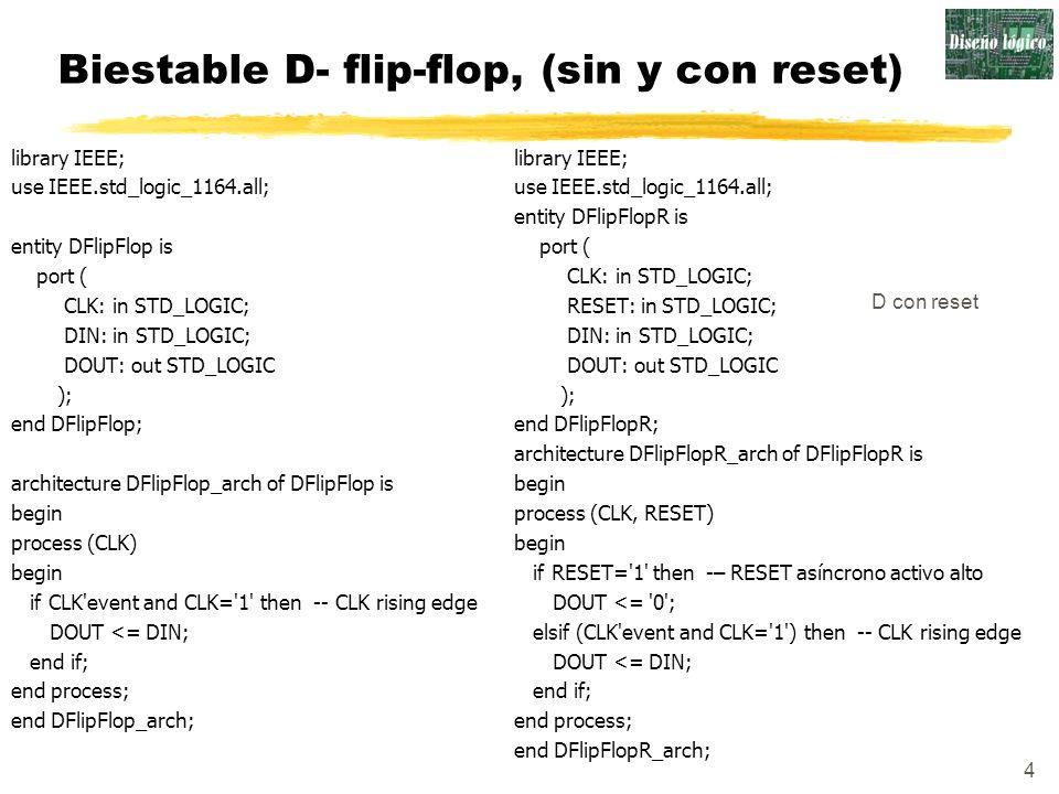 Biestable D- flip-flop, (sin y con reset)