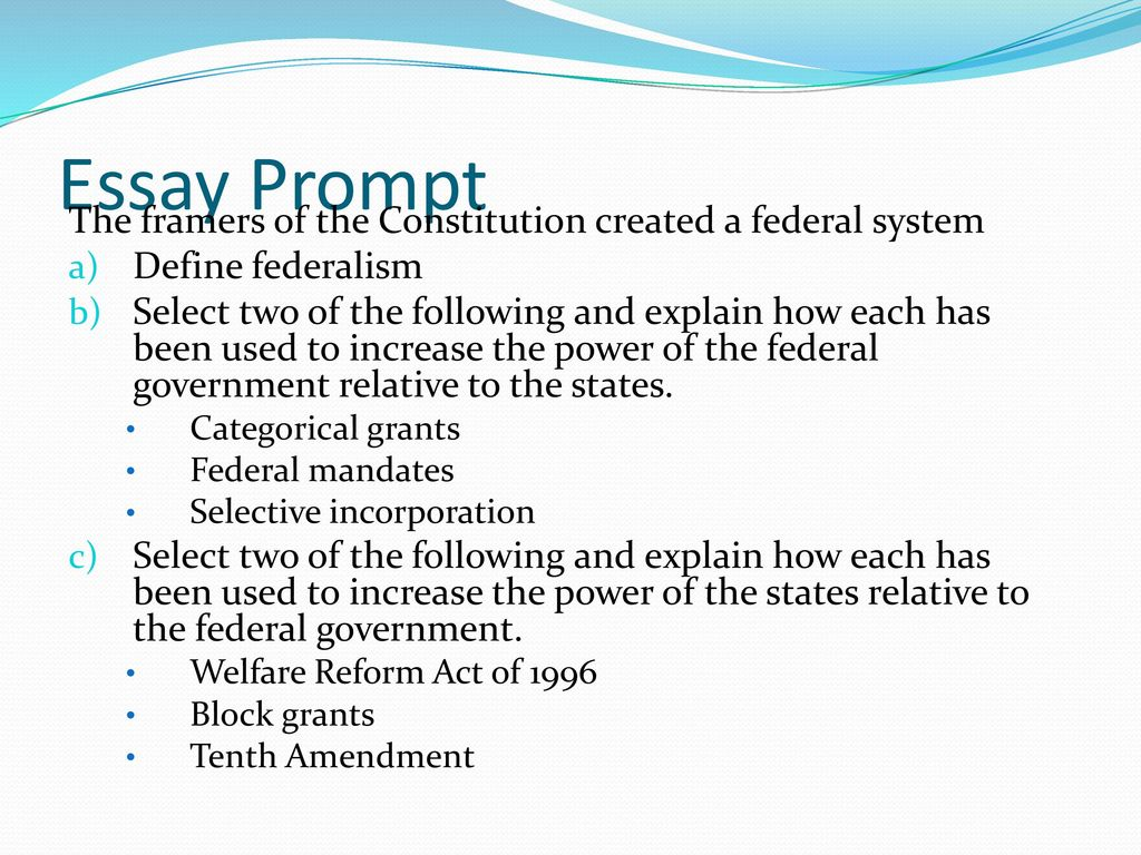 Essays on federalism federalist vs merchandising executive cover federalism review ppt download essay prompt the framers of the constitution created a federal system 12470806 pooptronica Choice Image