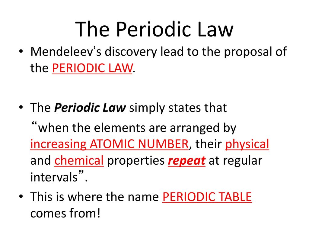 The periodic table an introduction ppt download the periodic law mendeleevs discovery lead to the proposal of the periodic law the periodic urtaz Gallery
