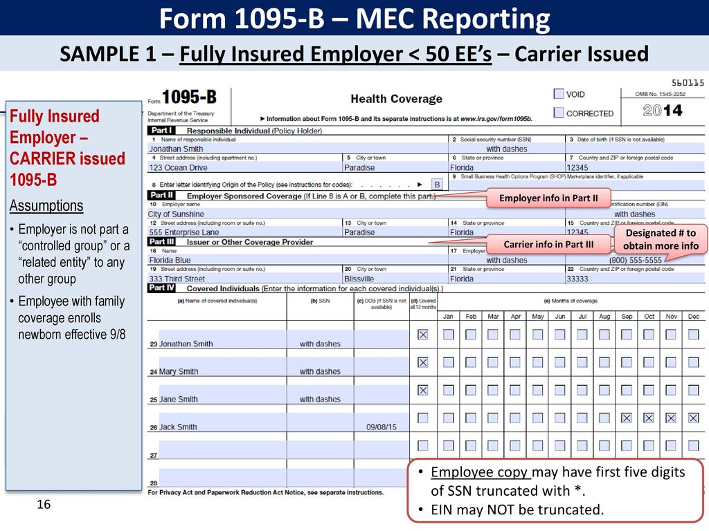 Irs affordable care act reporting forms 1094 ppt download 16 form 1095 b falaconquin