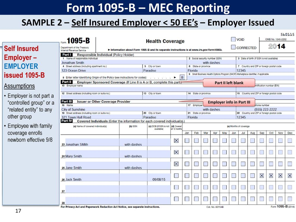 Irs form 1095 b gallery standard form examples irs affordable care act reporting forms 1094 ppt download 17 form falaconquin falaconquin