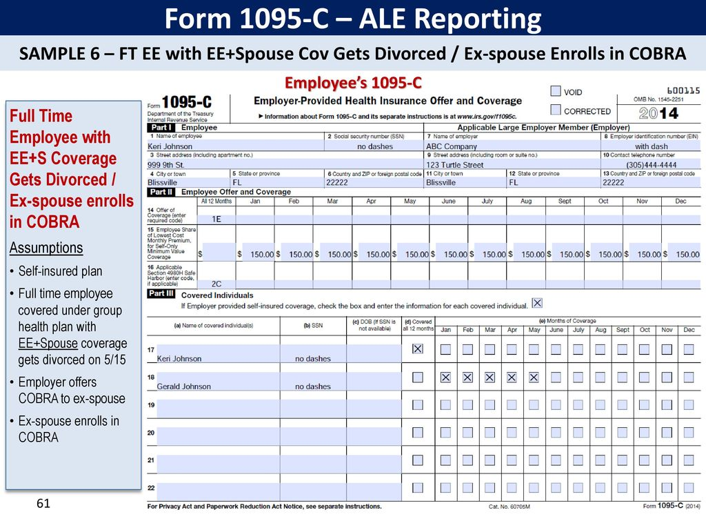 Irs affordable care act reporting forms 1094 ppt download form 1095 c ale reporting sample 6 ft ee with eespouse falaconquin