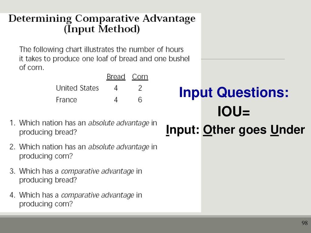 worksheet Comparative Advantage Worksheet unit i basic economic concepts ppt download 98 input