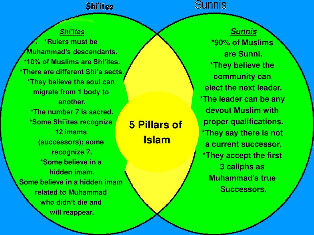 Cultures in the middle east ppt download 5 pillars of islam sunnis 90 of muslims are sunni they believe 63 middle of previous venn diagram pooptronica