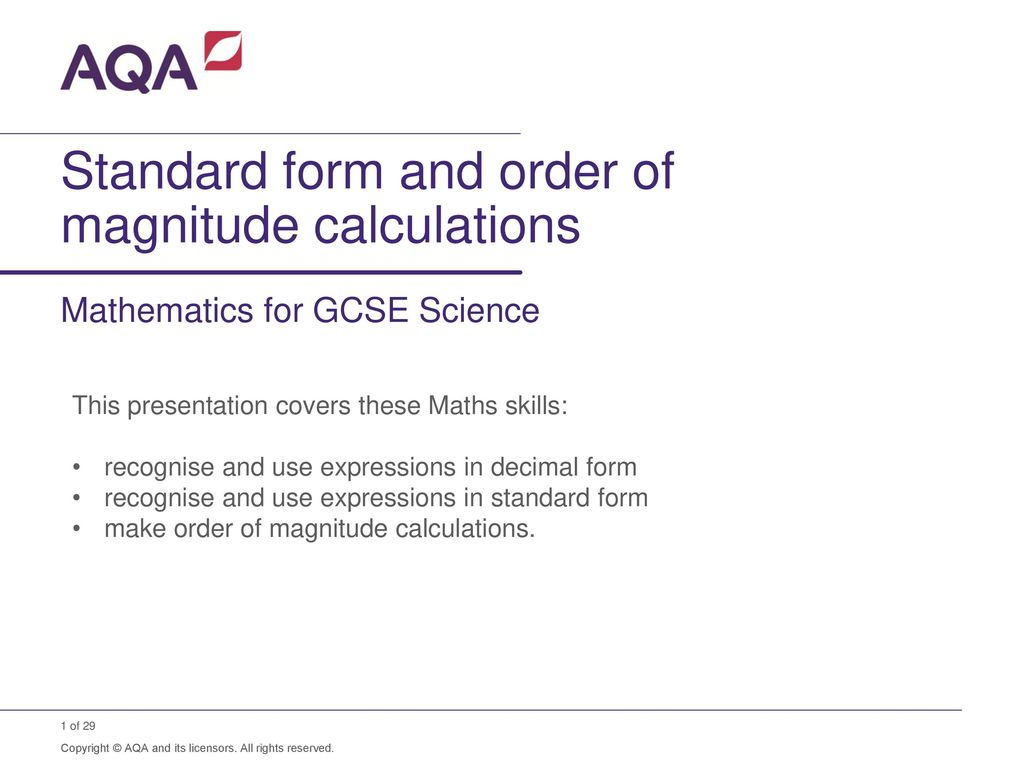Standard form and order of magnitude calculations ppt download standard form and order of magnitude calculations falaconquin