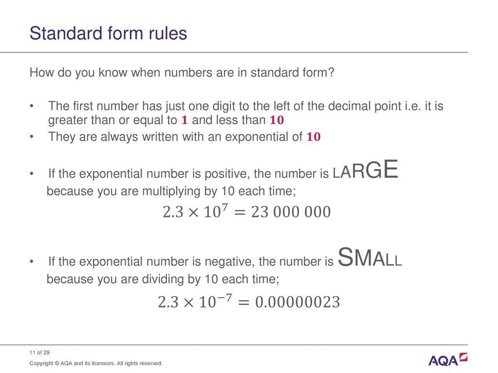 Standard form and order of magnitude calculations ppt download 11 standard form falaconquin