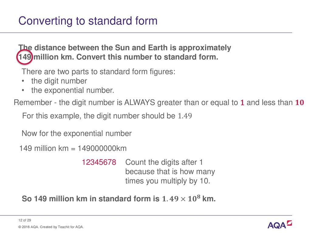 Standard form and order of magnitude calculations ppt download converting to standard form falaconquin