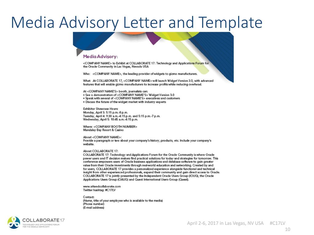 media alert template - collaborate 17 tradeshow webinar exhibitor marketing