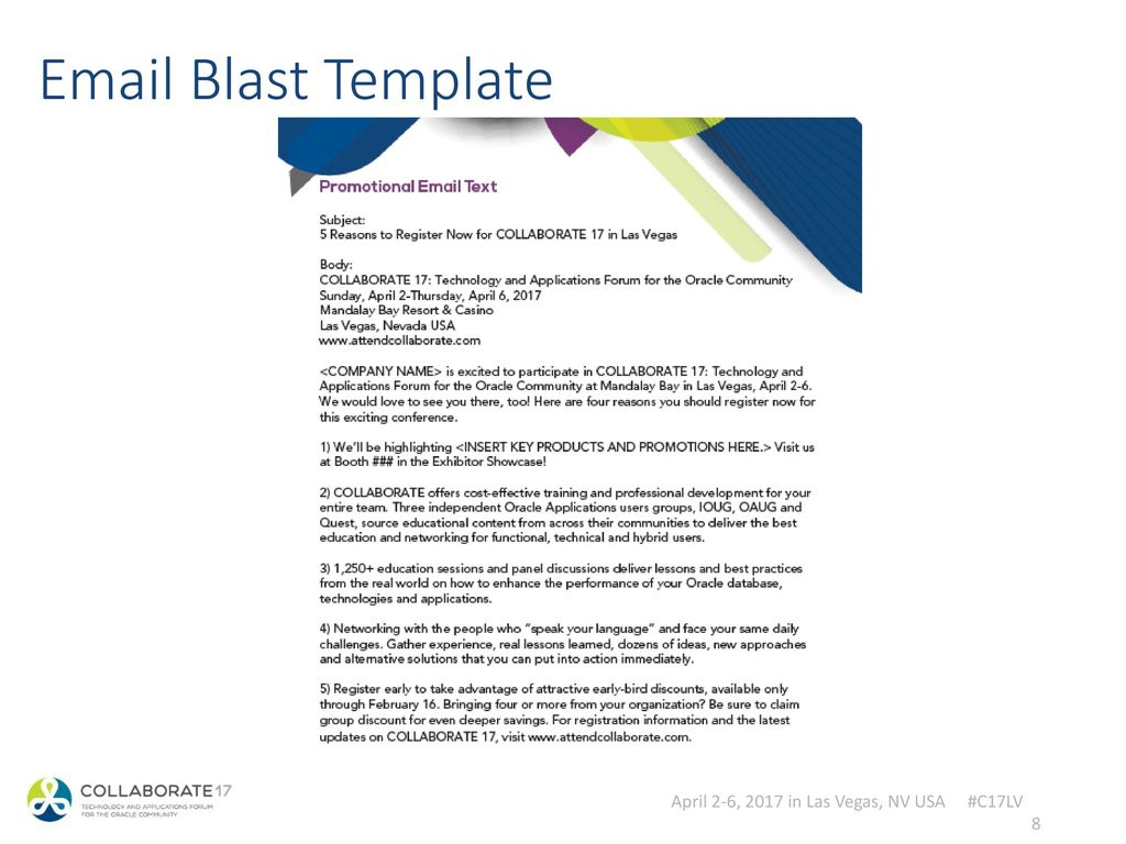 Collaborate 17 tradeshow webinar exhibitor marketing for Sample email blast template