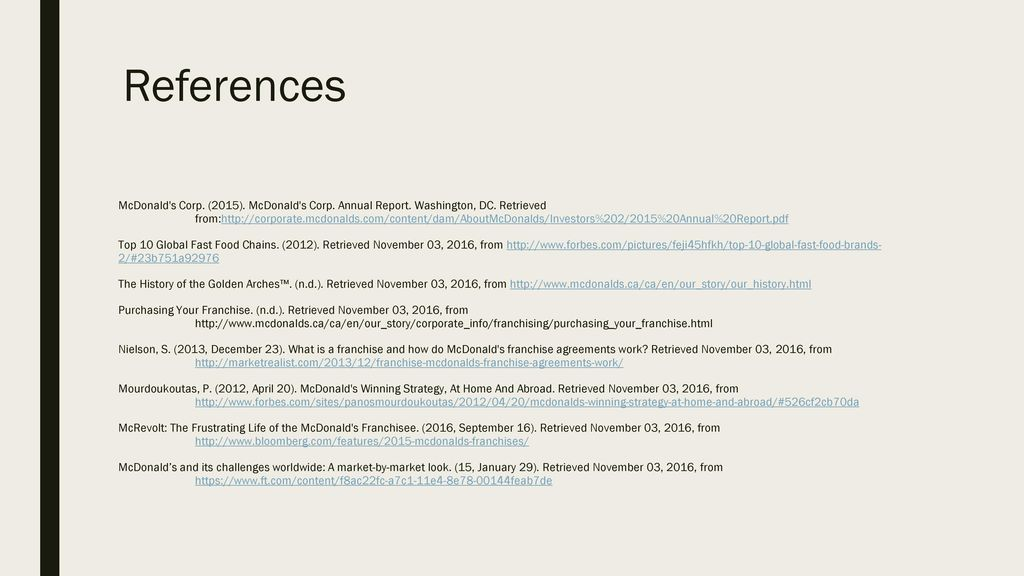 Pany Analysis McDonald S International Financing