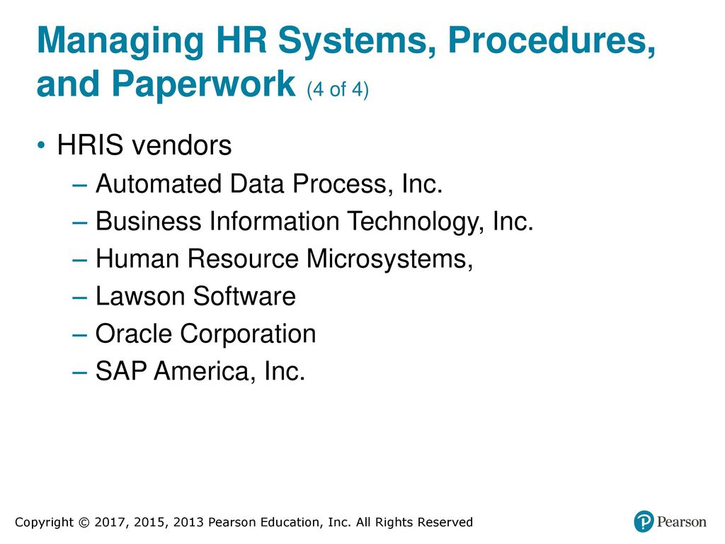 managing hr systems procedures and paperwork 4 of 4