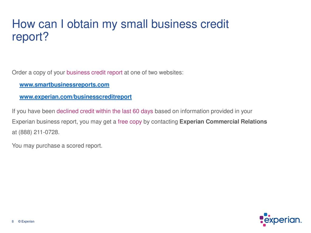 Small business and personal credit ppt download how can i obtain my small business credit report reheart Image collections