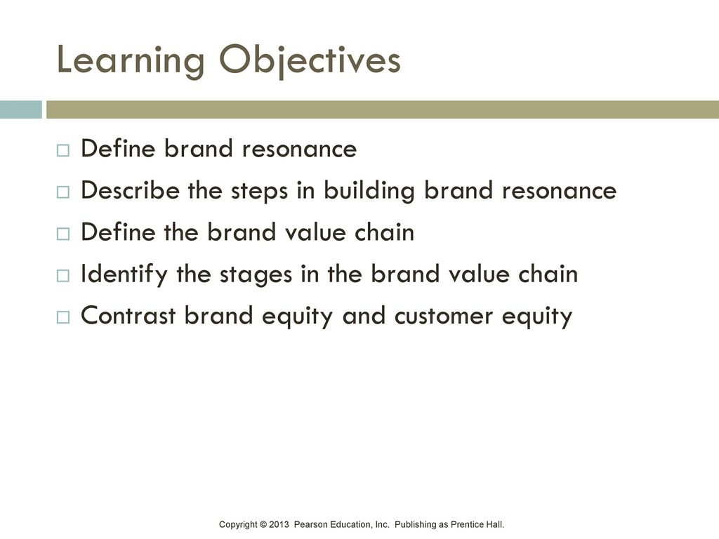 Learning Objectives Define brand resonance