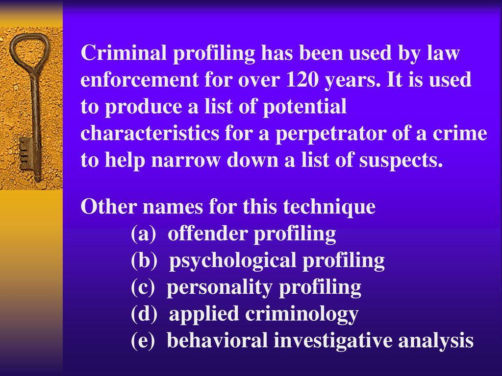 criminal profiling ppt  2 criminal profiling