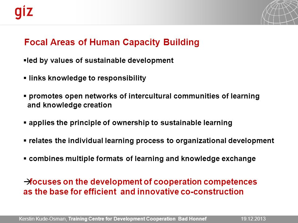 Focal Areas of Human Capacity Building