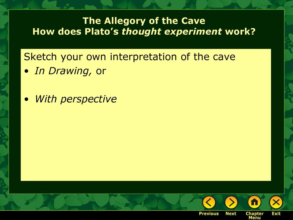 how to decipher the allegory of the cave by plato Discussion questions for plato's allegory of the cave 1 describe how the people in the cave are situated in plato's parable why can't they move their legs or.