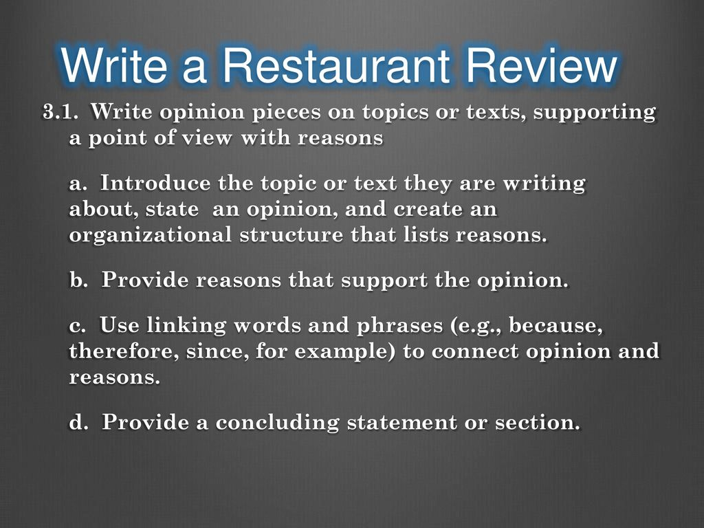 how to write a restaurant review in spanish