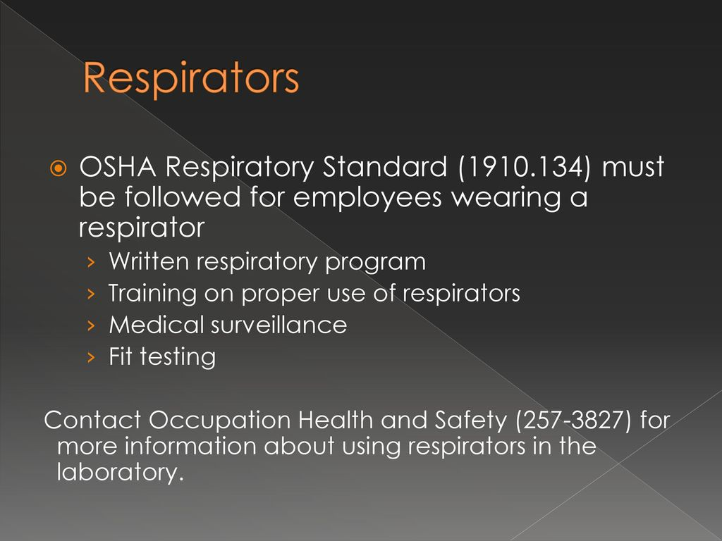 Chemical hygiene planlaboratory safety training ppt download 55 respirators 1betcityfo Choice Image