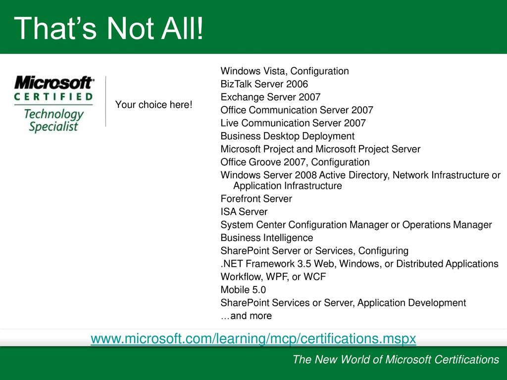 The new world of microsoft certifications ppt download mcsa 2003 to mcitp 2008 one transition exam to two mcts certifications 1betcityfo Gallery