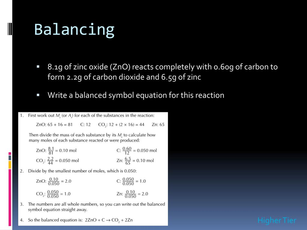 Moles noadswood science ppt download balancing 81g of zinc oxide zno reacts completely with 060g of carbon buycottarizona Gallery