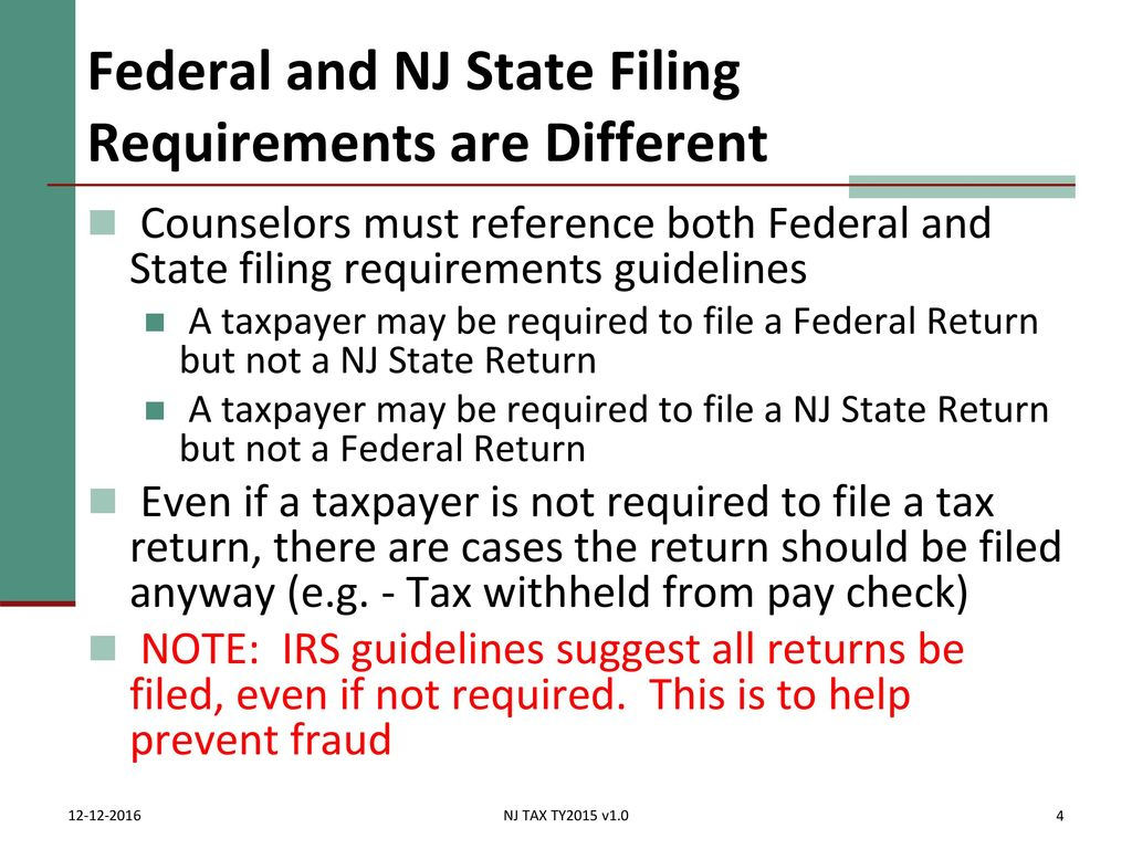Who mustshould file irs pub 17 chapter 1 irs pub ppt download federal and nj state filing requirements are different falaconquin