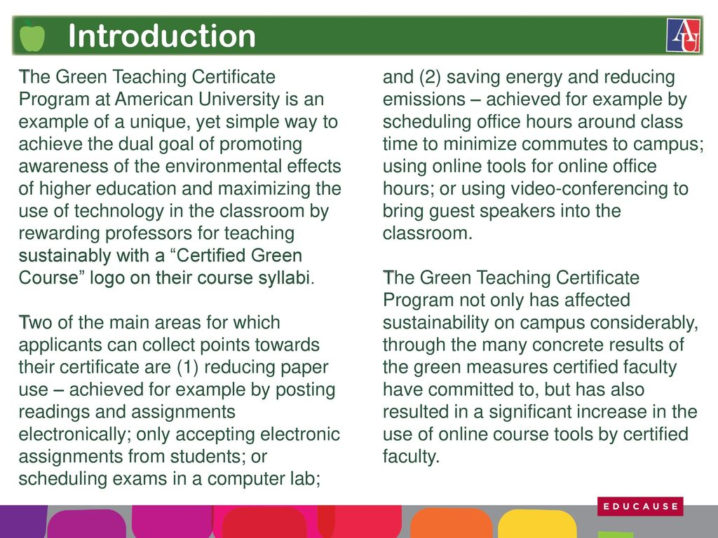 Greening the classroom ppt download 3 introduction the green teaching certificate program 1betcityfo Gallery