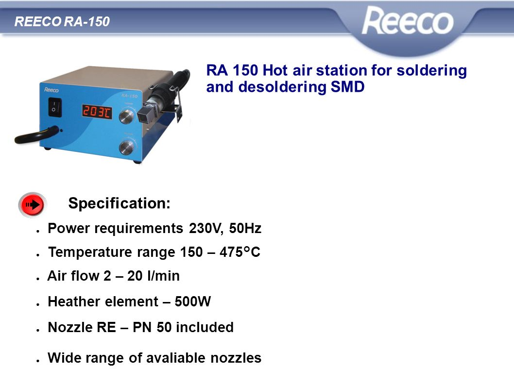 RA 150 Hot air station for soldering and desoldering SMD