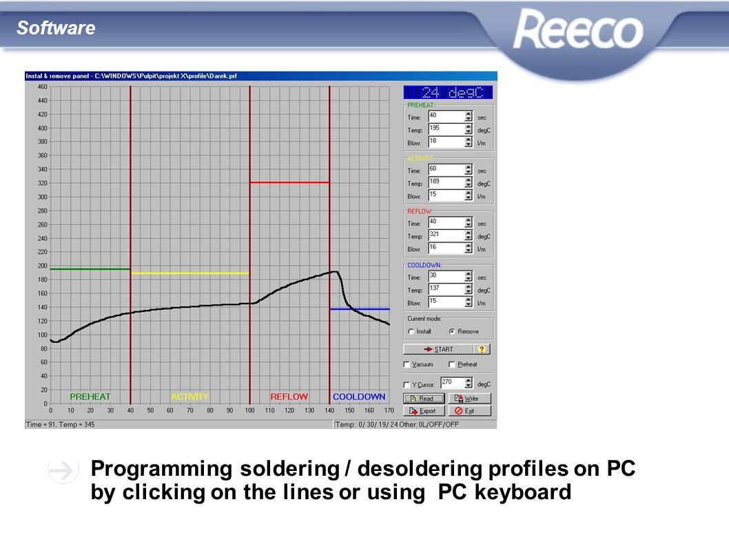 Programming soldering / desoldering profiles on PC