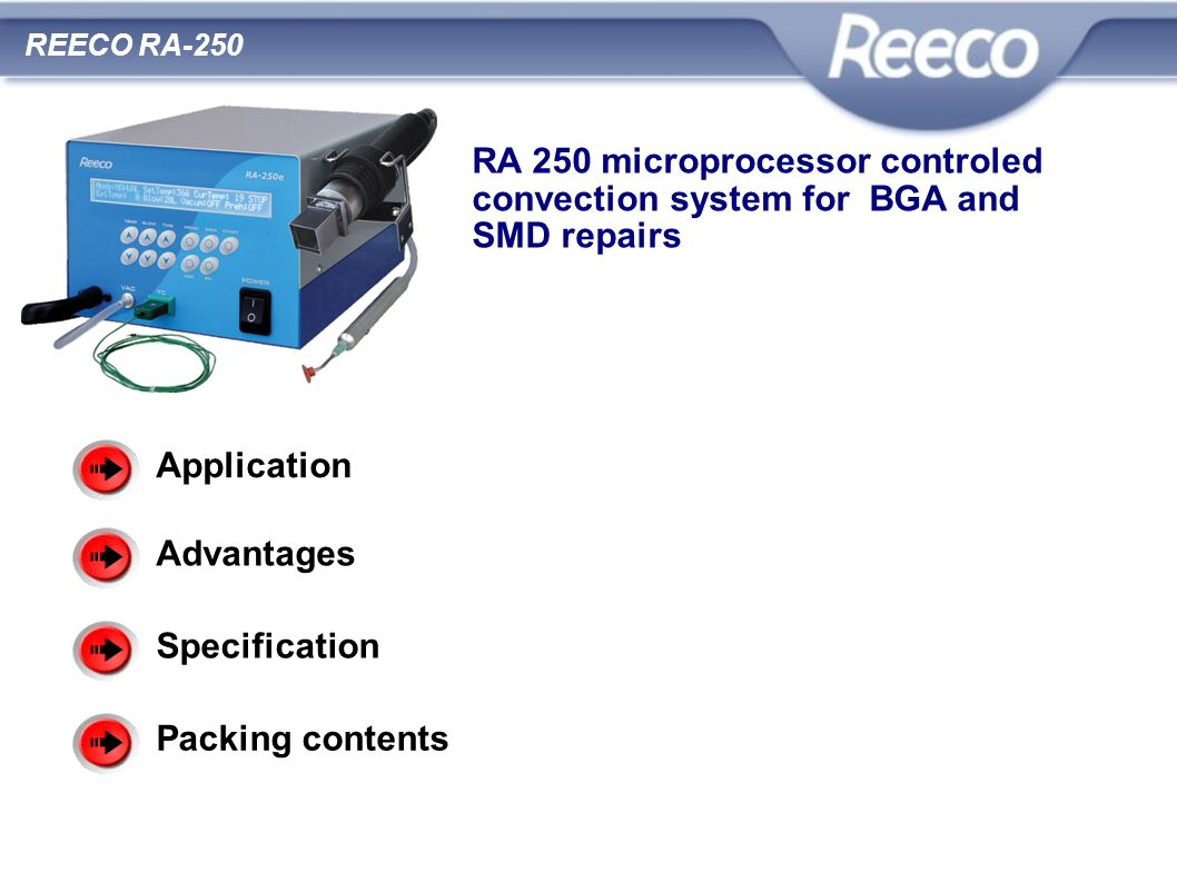 RA 250 microprocessor controled convection system for BGA and