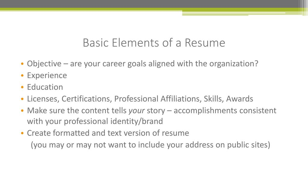 basic elements of a resume - Elements Of A Resume