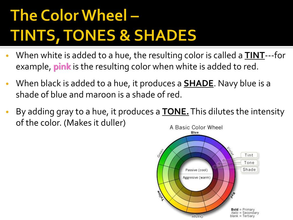 The Color Wheel TINTS TONES SHADES