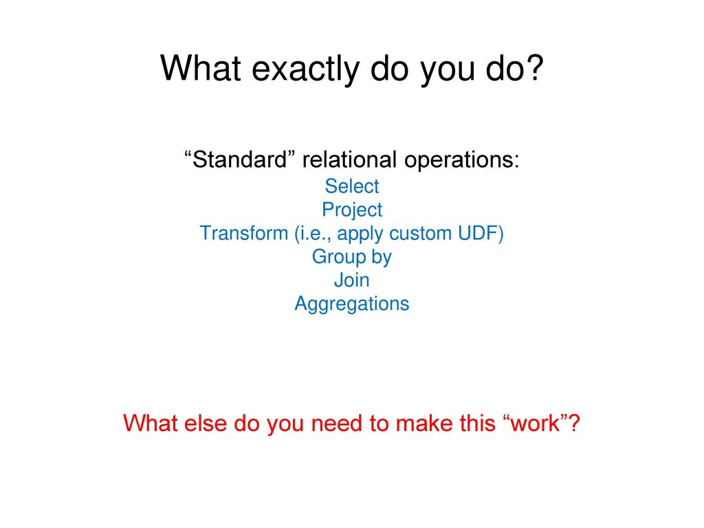What exactly do you do Standard relational operations: