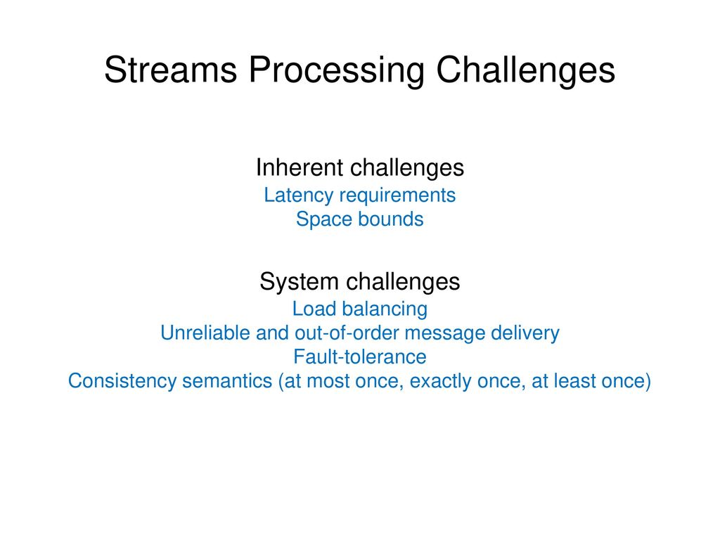 Streams Processing Challenges