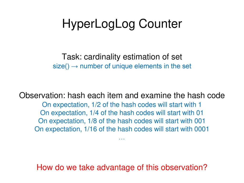 HyperLogLog Counter Task: cardinality estimation of set