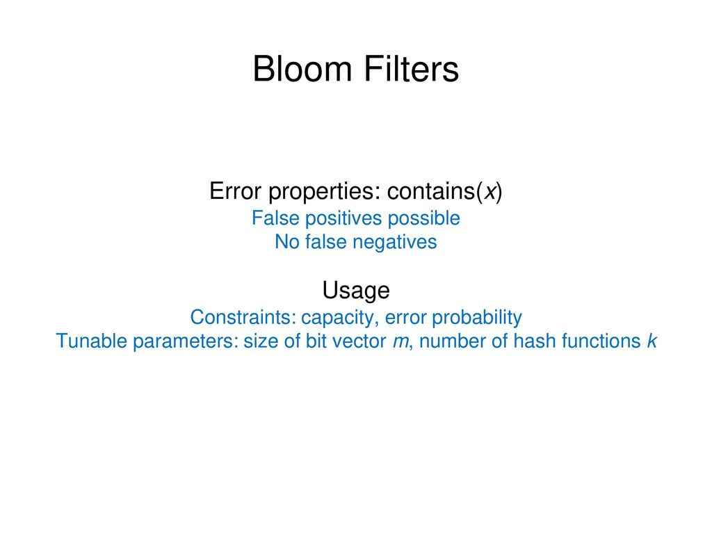 Bloom Filters Error properties: contains(x) Usage