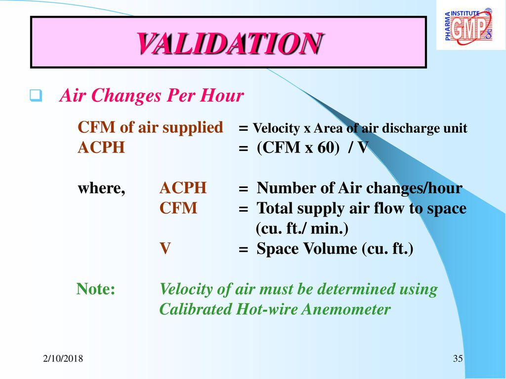 """Air Changes Per Hour : """"technology requirements in facility designing hvac"""
